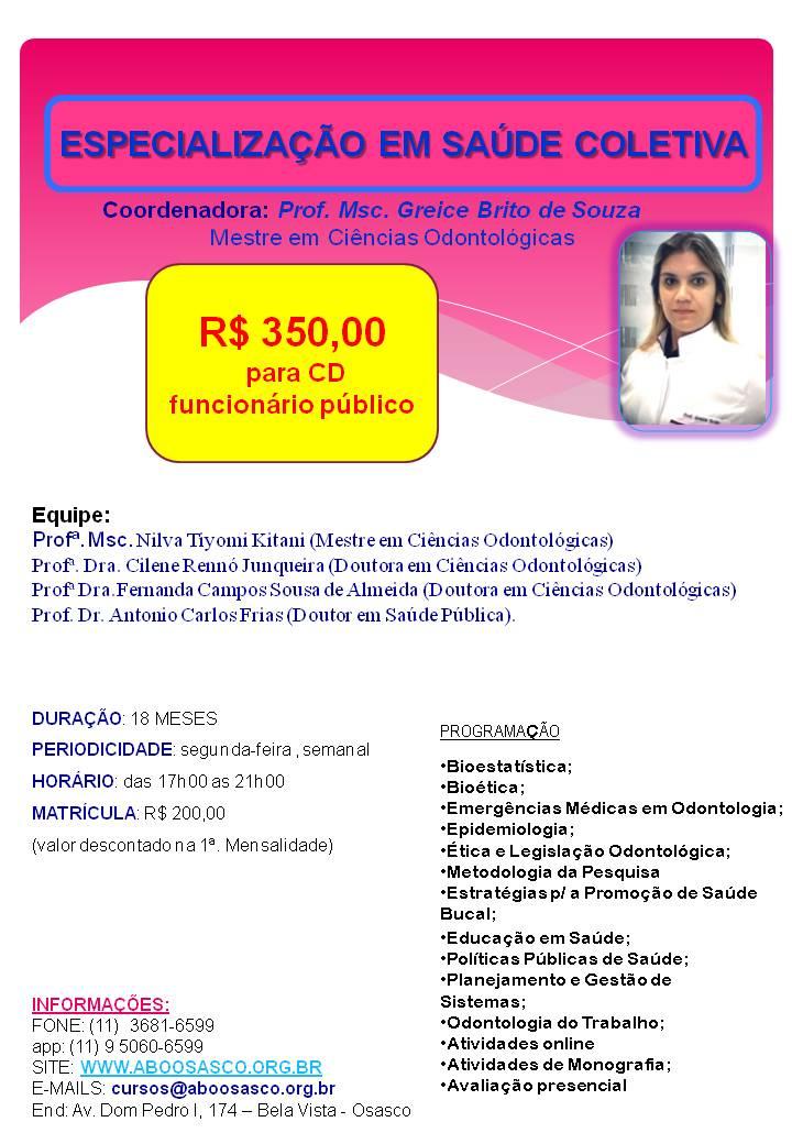 Especialização Saúde Coletiva folder