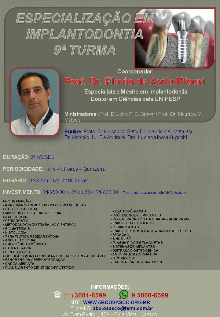 Folder Especialização em Implantodontia sem data marron